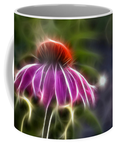 Fractal Coffee Mug featuring the photograph Electrified Coneflower by Lynne Jenkins