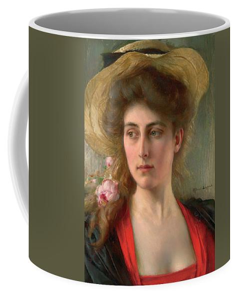 Elegante (oil On Panel) Female; Portrait; Straw Hat; Red Dress; Elegant; Melancholy; Melancholic; Edwardian; Beauty; Bust Coffee Mug featuring the painting Elegante by Albert Lynch