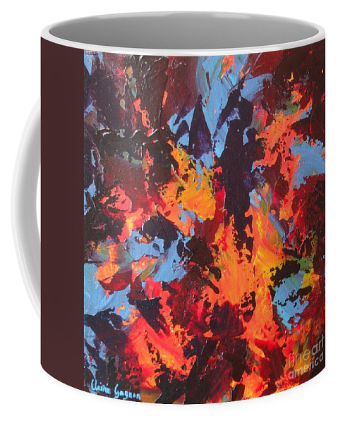 Abstract Coffee Mug featuring the painting Elephant by Claire Gagnon