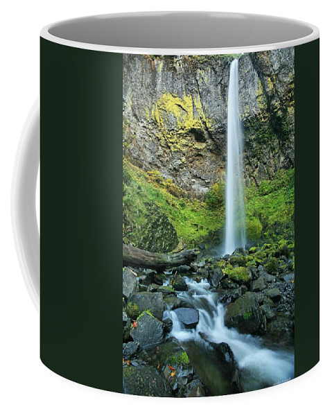 Waterfall Coffee Mug featuring the photograph Elowah by Winston Rockwell