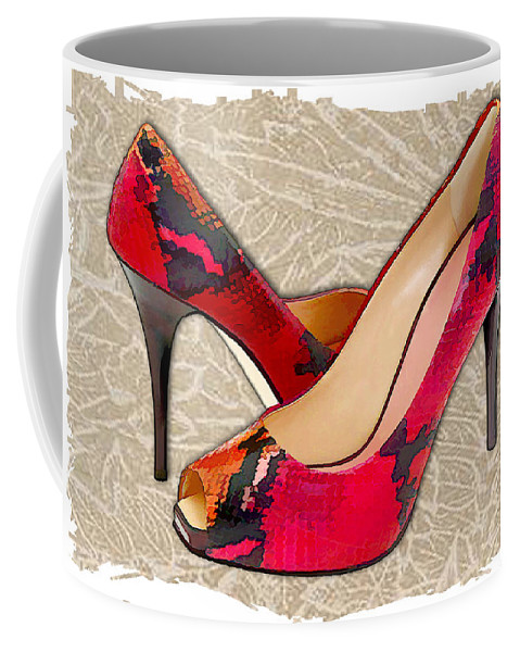 Shoes Heels Pumps Fashion Designer Feet Foot Shoe Stilettos Painting Paintings Illustration Illustrations Sketch Sketches Drawing Drawings Pump Stiletto Fetish Designer Fashion Boot Boots Footwear Sandal Sandals High+heels High+heel Women's+shoes Graphic Sophisticated Elegant Modern Coffee Mug featuring the painting Embossed Leather Reptile Pumps by Elaine Plesser
