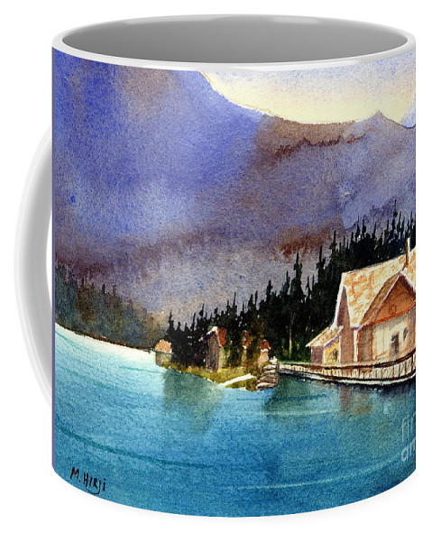 Coffee Mug featuring the painting Emerald Lake Lodge B.c by Mohamed Hirji