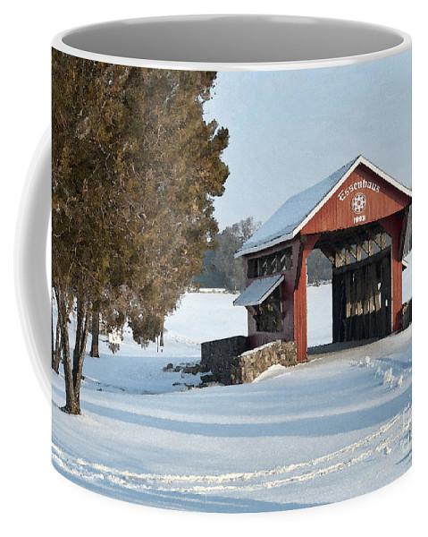 Covered Bridge Coffee Mug featuring the photograph Essenhause Covered Bridge by David Arment