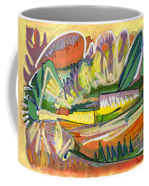 Abstract Coffee Mug featuring the painting Exotic Places In My Mind by Lynne Taetzsch