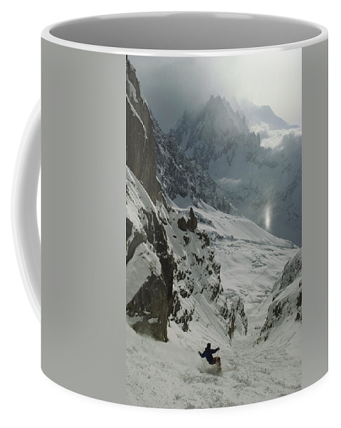 Europe Coffee Mug featuring the photograph Extreme Skier Jean Franck Charlet by Gordon Wiltsie