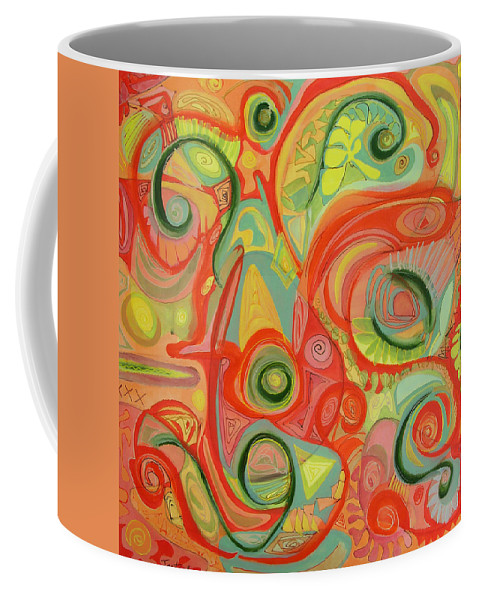 Abstract Coffee Mug featuring the painting Eye On The Dawn by Lynne Taetzsch