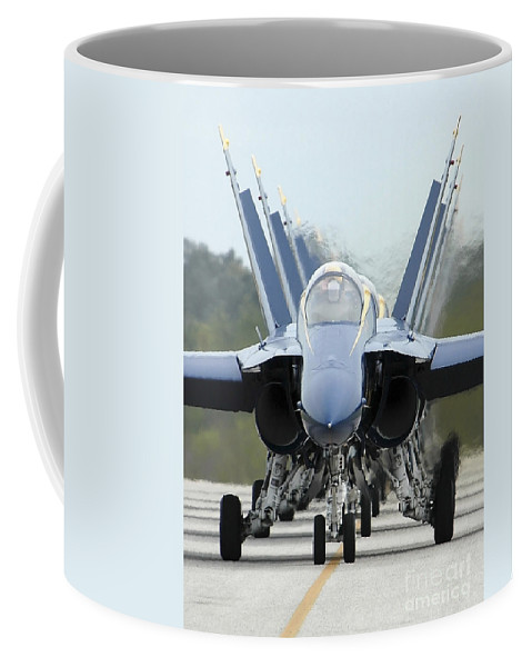 Color Image Coffee Mug featuring the photograph Fa-18a Hornets Assigned To The Blue by Stocktrek Images