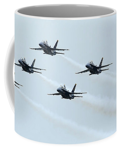 Horizontal Coffee Mug featuring the photograph Fa-18a Hornets Fly In A Pyramid by Stocktrek Images