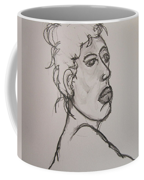 Nude Coffee Mug featuring the drawing Face Of Nude Woman by Rand Swift