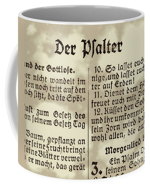Bible Coffee Mug featuring the photograph Faded Old German Bible Page by Yali Shi
