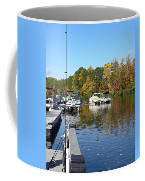 Marina Coffee Mug featuring the photograph Fall Fishing Break by Sandi OReilly