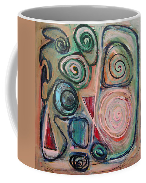 Abstract Coffee Mug featuring the painting Falling Hours by Lynne Taetzsch