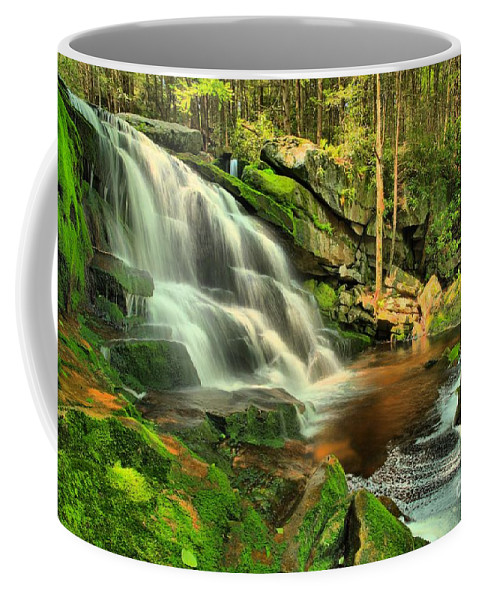 Black Water Falls State Park Coffee Mug featuring the photograph Falling Through The Woods by Adam Jewell