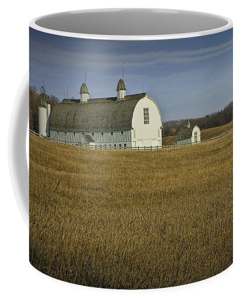 Art Coffee Mug featuring the photograph Farm Scene With White Barn by Randall Nyhof