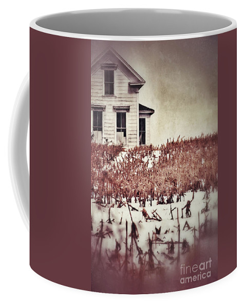 Farm Coffee Mug featuring the photograph Farmhouse In Winter by Jill Battaglia