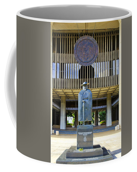 Architecture Coffee Mug featuring the photograph Father Damien And The Capitol Building by Tomas del Amo