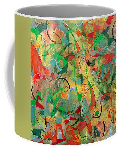 Abstract Coffee Mug featuring the painting Feathered Nest by Lynne Taetzsch