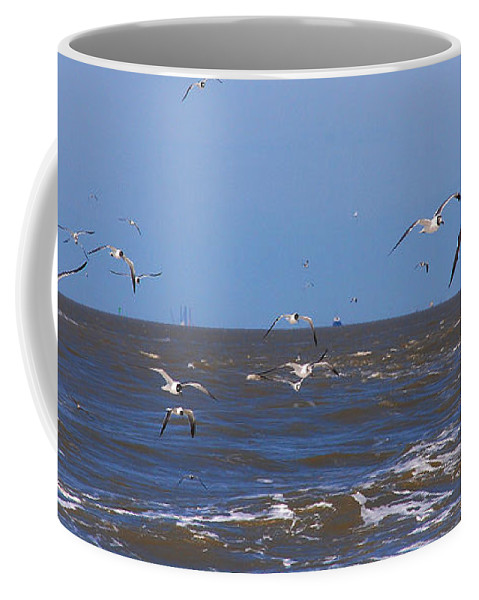 Seagulls Coffee Mug featuring the photograph Feed Us - Ferry To Galveston Tx by Susanne Van Hulst