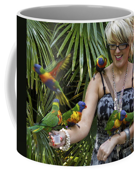 Clare Bambers Coffee Mug featuring the photograph Feeding Rainbow Lorikeets by Clare Bambers