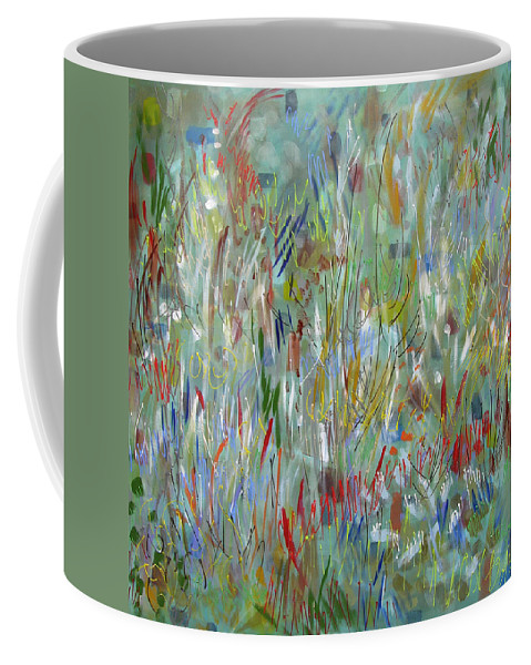 Abstract Coffee Mug featuring the painting Feeling Your Way by Lynne Taetzsch