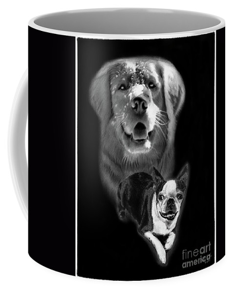 Golden Retriever Coffee Mug featuring the drawing Festus And Rosie by Peter Piatt
