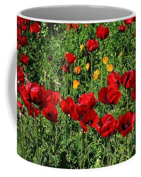 Flora Coffee Mug featuring the photograph Field Of Red Poppies by Bruce Bley