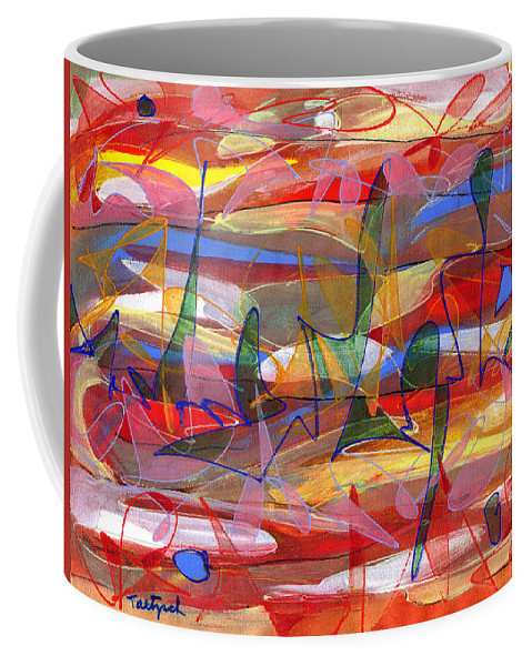 Abstract Coffee Mug featuring the painting Fields by Lynne Taetzsch