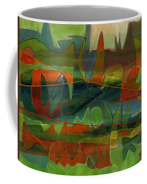 Abstract Coffee Mug featuring the painting Fields Two by Lynne Taetzsch