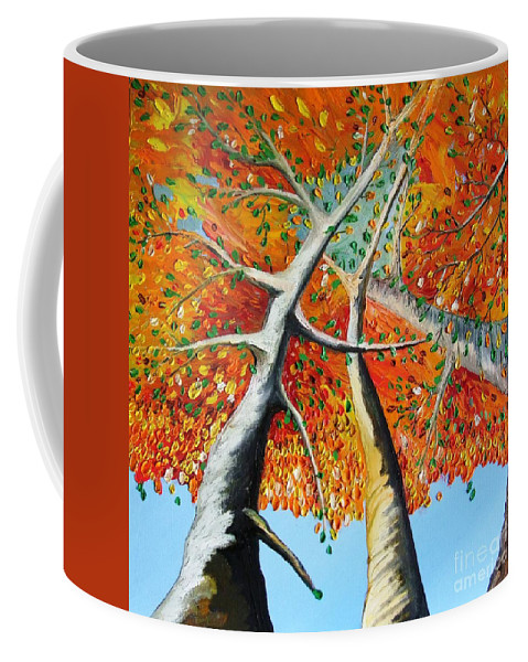 Landscape Coffee Mug featuring the painting Fiery Trees by Alfie Borg