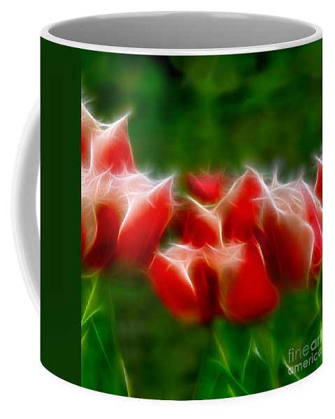 Fire And Ice Coffee Mug featuring the digital art Fire And Ice Fractal Panel 2 by Peter Piatt