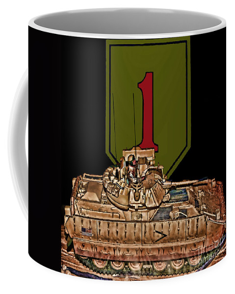 First Infantry Division Coffee Mug featuring the digital art First Infantry Division Bradley Fighting Vehicle by Tommy Anderson