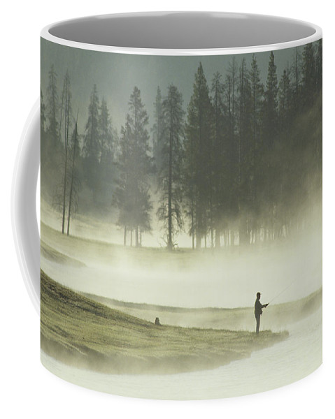 North America Coffee Mug featuring the photograph Fishermen In The Morning Mist by Raymond Gehman