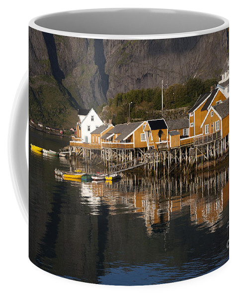 Norway Coffee Mug featuring the photograph Fishermen's Village Sakrisoy by Heiko Koehrer-Wagner