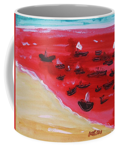Red Sea Coffee Mug featuring the painting Fishing Boats On A Red Sea by Mary Carol Williams