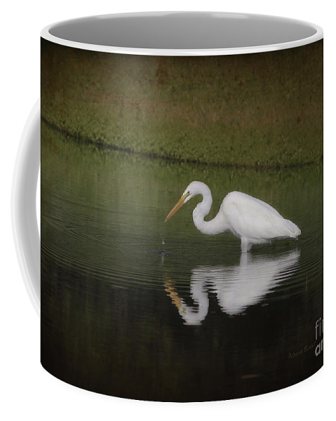 Egret Coffee Mug featuring the photograph Fishing In The Morning by Deborah Benoit