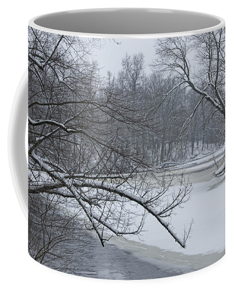 Art Coffee Mug featuring the photograph Flat River In Winter No.026 by Randall Nyhof