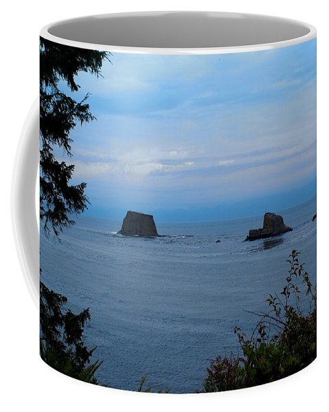 Beautiful Cape Flattery Coffee Mug featuring the digital art Floating Rocks by Christy Leigh
