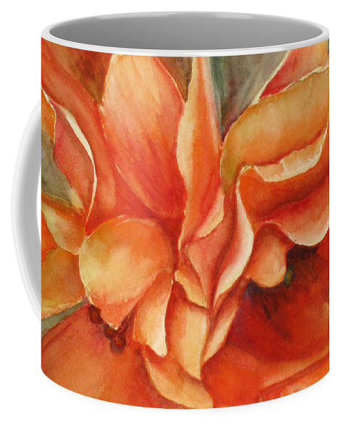 Orange Coffee Mug featuring the painting Floral Flash by Mohamed Hirji