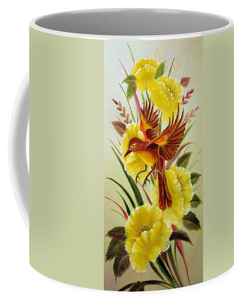 Bird Coffee Mug featuring the photograph Floral Flight by David G Paul
