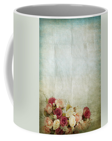Abstract Coffee Mug featuring the photograph Floral Pattern On Old Paper by Setsiri Silapasuwanchai
