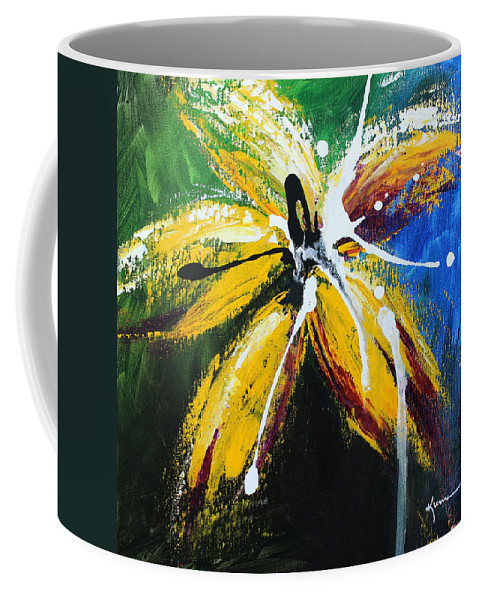 Floral Coffee Mug featuring the painting Flower Of Felucia by Kume Bryant