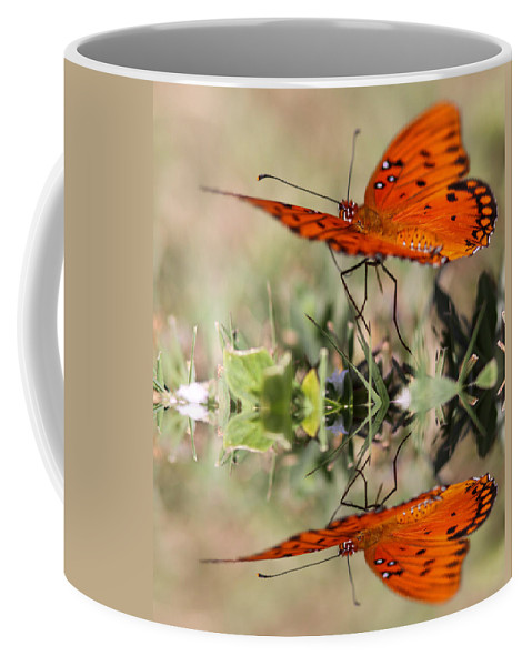 Reflections Coffee Mug featuring the photograph Fluttering Reflections - Butterfly by Travis Truelove