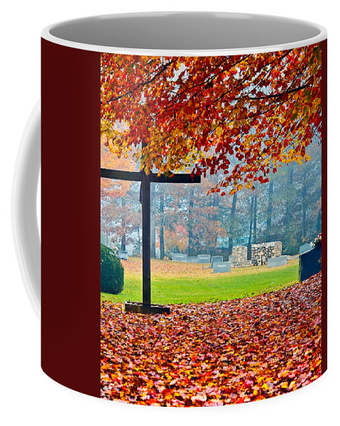Cemetery Coffee Mug featuring the photograph Foggy Autumn Cemetery by Susan Leggett