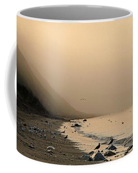 Beach Coffee Mug featuring the photograph Foggy Shores by Jeff Galbraith