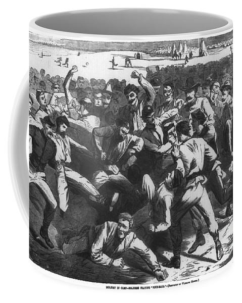 1865 Coffee Mug featuring the photograph Football: Soldiers, 1865 by Granger