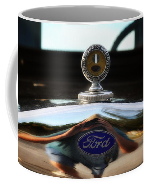 Ford Coffee Mug featuring the photograph Ford Model T Hood Ornament by Bill Cannon