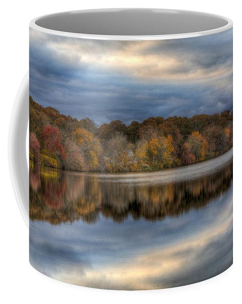 Forge River Mastic Ny Coffee Mug featuring the photograph Forge River In Fall by Steve Gravano