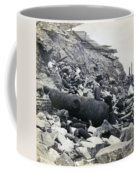 Fort Coffee Mug featuring the photograph Fort Sumter Civil War Debris - C 1865 by International Images