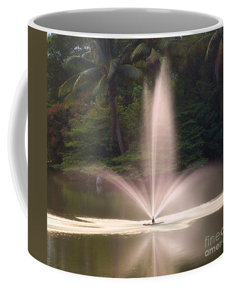 Fountain Coffee Mug featuring the photograph Fountain And Palms by Yali Shi