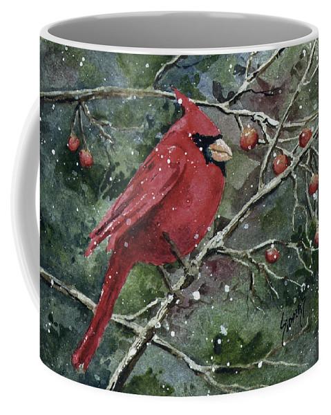 Cardinal Coffee Mug featuring the painting Franci's Cardinal by Sam Sidders
